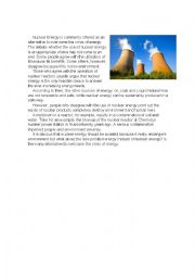 English Worksheet: Nuclear energy