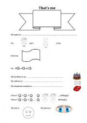English Worksheet: Cover - Thats Me