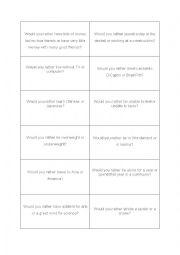 English Worksheet: Would rather speaking card game