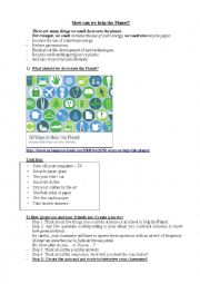English Worksheet: how to save the planet