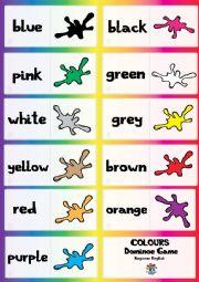English Worksheet: Basic Colours DOMINOE GAME