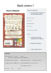 English Worksheet: Diary of a Wimpy Kid back cover