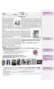 English Worksheet: a test on cultural awareness with vocabulary and grammar exercises