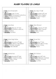 English Worksheet: Rugby players ID cards