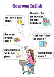 English Worksheet: Classroom English poster (2)