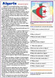English worksheet: Describing countries(Algeria)1