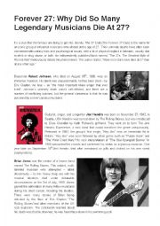 English worksheet: The Forever 27 Club