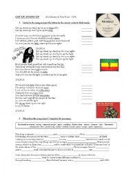 English Worksheet: Get up Stand up - Bob Marley