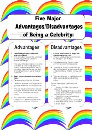 English Worksheet: advantages and disadvantages of being a celebrity / famous