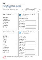English Worksheet: Saying the date