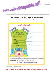 English Worksheet: How to ... write a birthday invitation card?