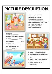 English Worksheet: PICTURE DESCRIPTION FOR KIDS