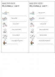 English Worksheet: CAN/CAN�T -YES-NO QUESTIONS