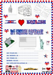 English Worksheet: New copybook cover with tasks