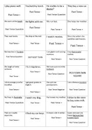 English worksheet: Simple Past Tense Coin Toss Game