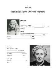 English Worksheet: Pair-Work about Agatha Christie�s Biography