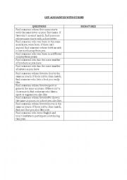 English Worksheet: ICE-BREAKER: GET ACQUAINTED WITH OTHERS
