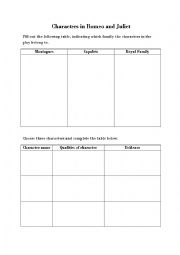 english worksheets characters in romeo and juliet. Black Bedroom Furniture Sets. Home Design Ideas