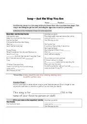 English Worksheet: Just the way you are by Bruno Mars (Adjective practices and songwriting!)
