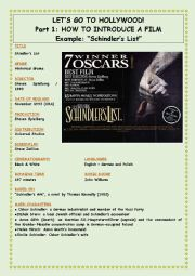 English Worksheet: Let�s Go To Hollywood - Part 1 - Schindler�s List - Introduce the film