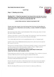 English Worksheet: PET exam model test