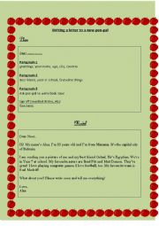 English Worksheet: Writing a Letter to a New Pen-pal