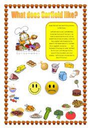 English Worksheet: Garfield´s likes and dislikes: FOOD