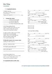 English Worksheet: one thing  by one direction