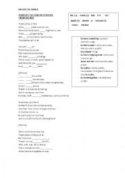 English Worksheet: song we are the world