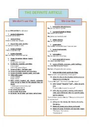 English Worksheet: the definite article (the)