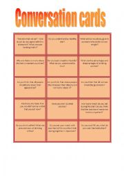 English Worksheet: Coversation cards - food, sport, healthy lifestyle