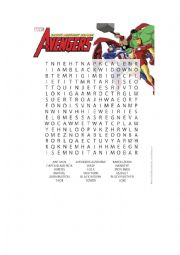 English Worksheet: AVENGER&SPIDERMAN WORD SEARCH