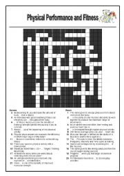 English Worksheet: Fitness and Physical Activity Crossword