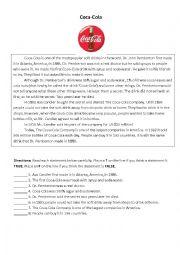 English Worksheet: Coca Cola