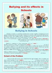 English Worksheet: Bullying and its effects in Schools