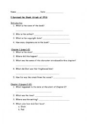 English Worksheet: i Survived the Shark Attack of 1916 Intro and C1 questions
