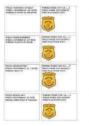 English Worksheet: detective cards
