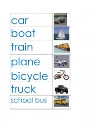 image regarding Printable Word Wall Cards With Pictures known as Transport phrase wall - ESL worksheet by means of jkutej