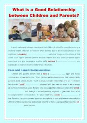 English Worksheet: What is a Good Relationship between Children and Parents?