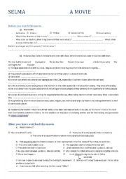 English Worksheet: SELMA - MOVIE -SEGREGATION IN THE US
