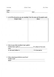 English Worksheet: Gulliver´s Travels Worksheet