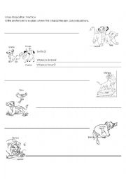 english worksheets prepositions of place with lion king. Black Bedroom Furniture Sets. Home Design Ideas