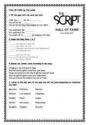 English Worksheet: hall of fame song worksheet