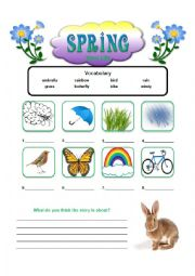 English worksheet: Spring Story with Questions
