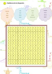 English Worksheet: Body Parts Wordsearch Puzzle