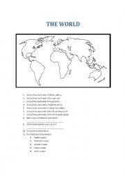 English Worksheet: the world