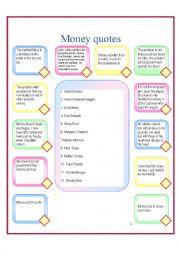 English worksheet: Money quotes