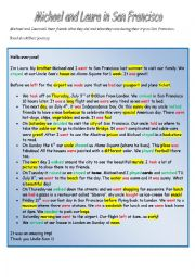 English Worksheet: Michael and Laura in San Francisco 1