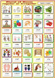 English Worksheet: Plural of Nouns - regular or irregular?