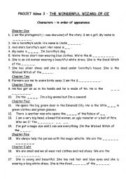 English Worksheet: Characters� worksheet for The Wonderful Wizard of Oz